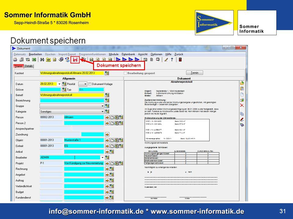 www.sommer-informatik.de 31 Dokument speichern