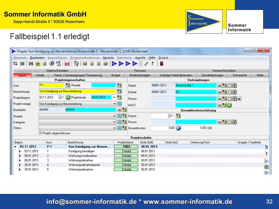 www.sommer-informatik.de 32 Fallbeispiel 1.1 erledigt