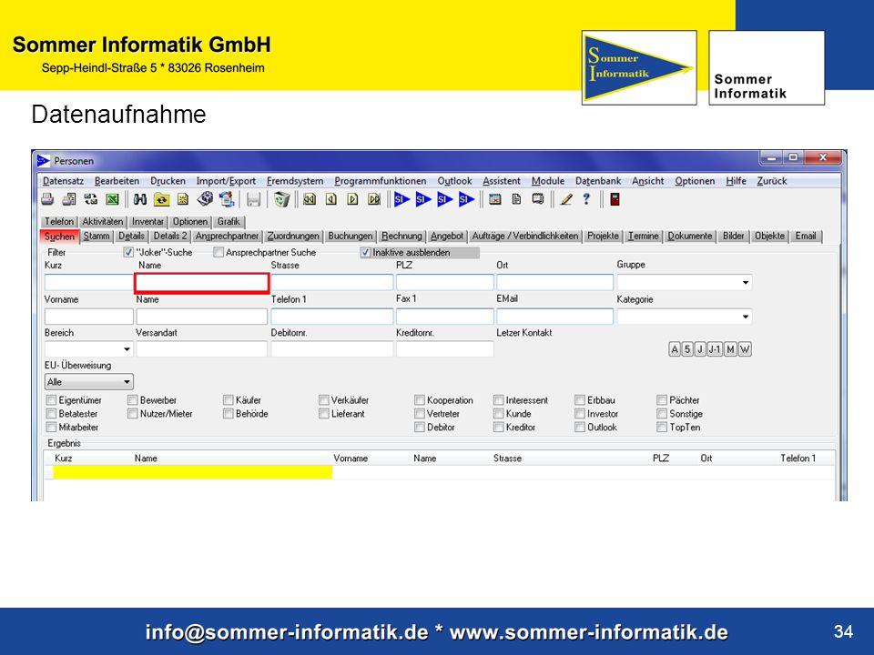 www.sommer-informatik.de 34 Datenaufnahme