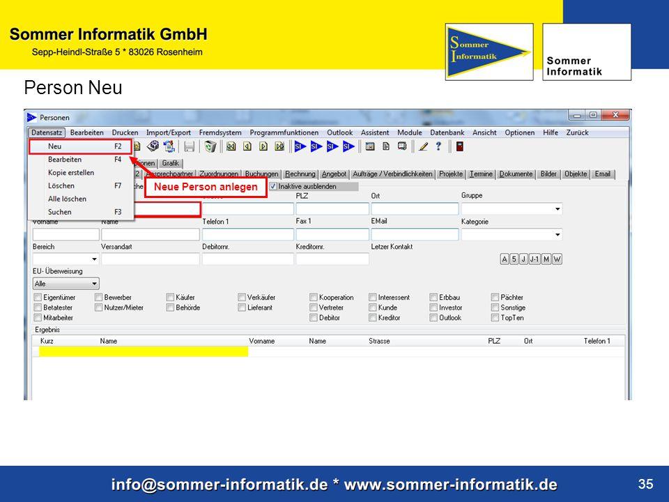 www.sommer-informatik.de 35 Person Neu Neue Person anlegen