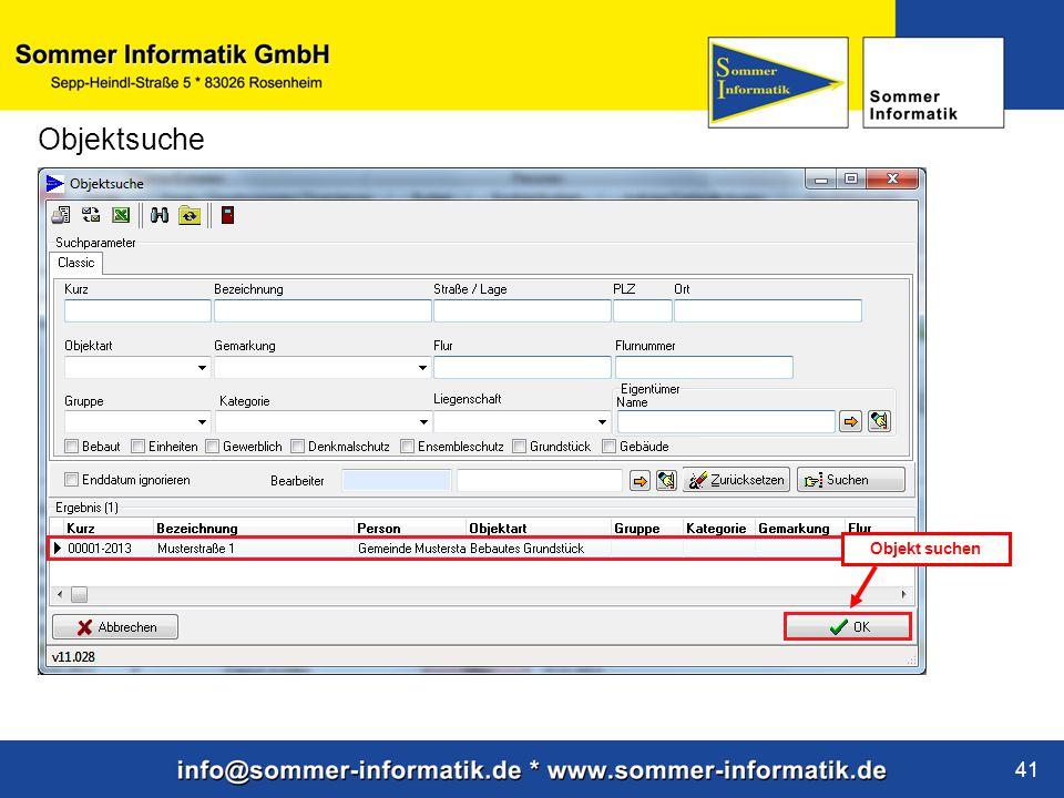 www.sommer-informatik.de 41 Objektsuche Objekt suchen