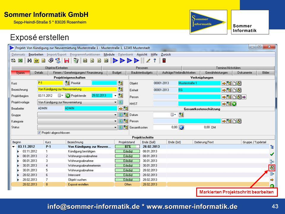 www.sommer-informatik.de 43 Exposé erstellen Markierten Projektschritt bearbeiten