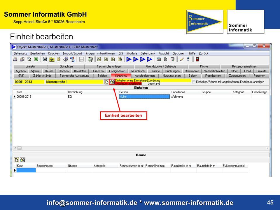 www.sommer-informatik.de 45 Einheit bearbeiten