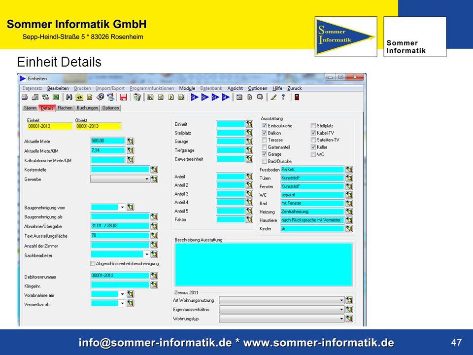 www.sommer-informatik.de 47 Einheit Details
