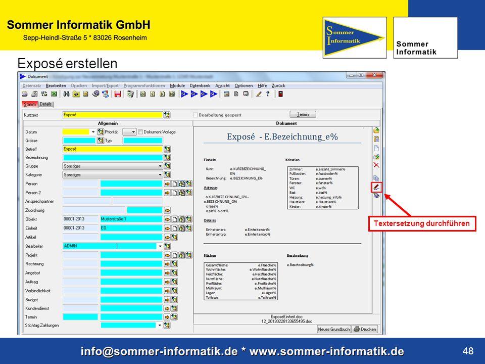 www.sommer-informatik.de 48 Exposé erstellen Textersetzung durchführen