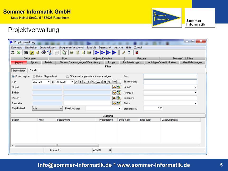 www.sommer-informatik.de 5 Projektverwaltung