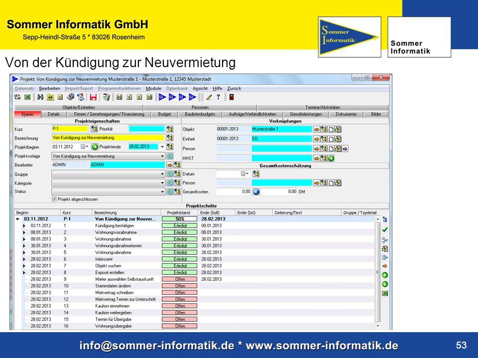 www.sommer-informatik.de 53 Von der Kündigung zur Neuvermietung