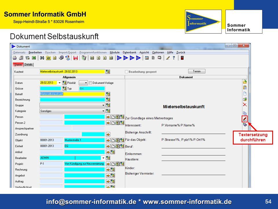 www.sommer-informatik.de 54 Dokument Selbstauskunft Textersetzung durchführen