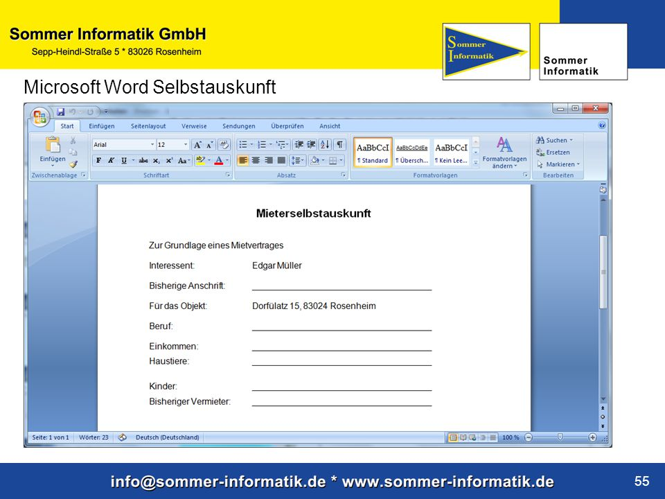 www.sommer-informatik.de 55 Microsoft Word Selbstauskunft