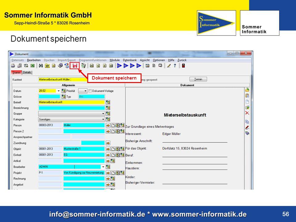 www.sommer-informatik.de 56 Dokument speichern