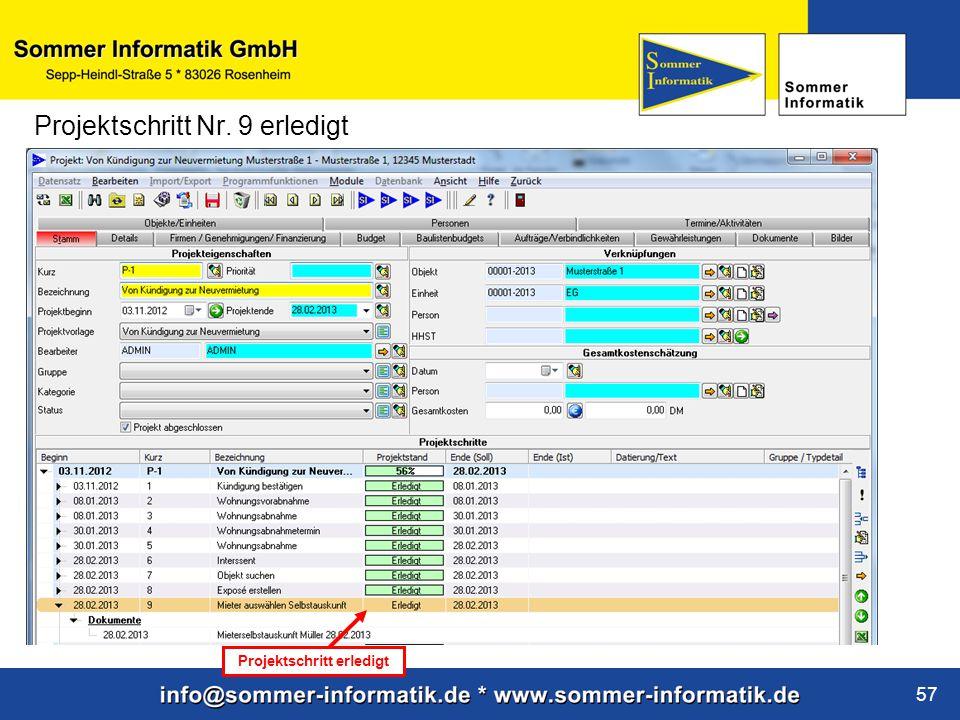 www.sommer-informatik.de 57 Projektschritt Nr. 9 erledigt Projektschritt erledigt