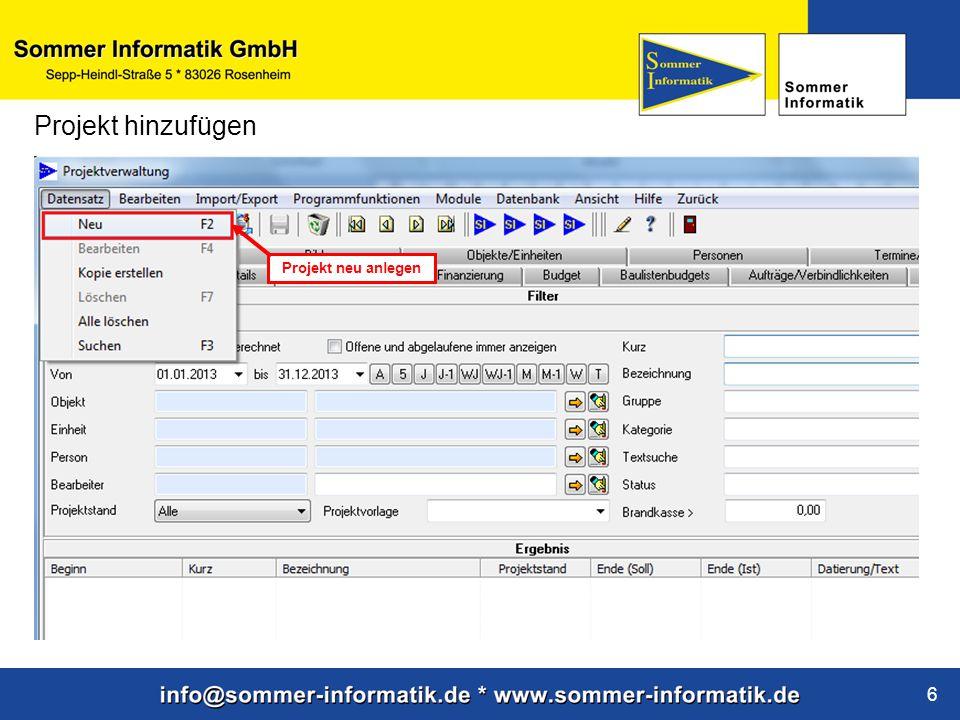 www.sommer-informatik.de 6 Projekt hinzufügen Projekt neu anlegen