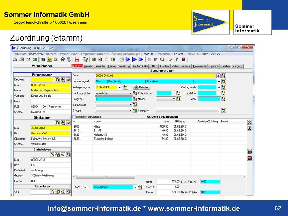 www.sommer-informatik.de 62 Zuordnung (Stamm)