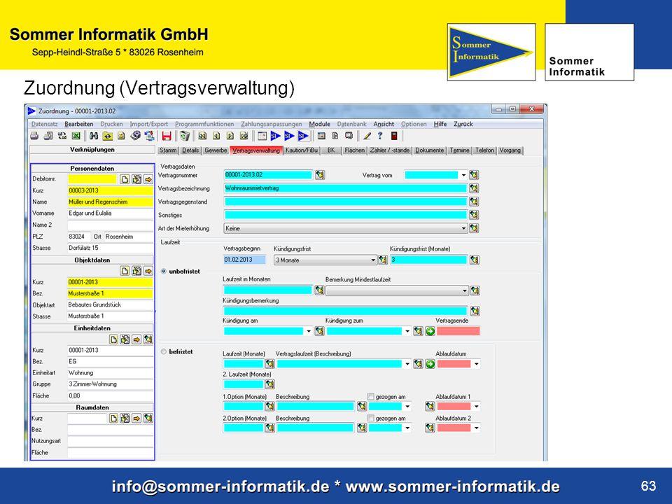 www.sommer-informatik.de 63 Zuordnung (Vertragsverwaltung)
