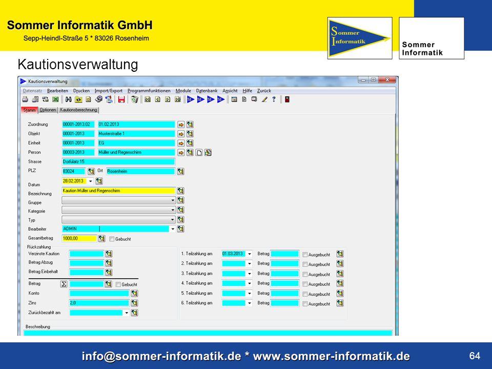 www.sommer-informatik.de 64 Kautionsverwaltung