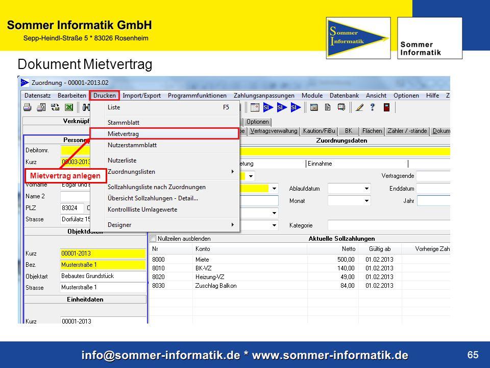 www.sommer-informatik.de 65 Dokument Mietvertrag Mietvertrag anlegen
