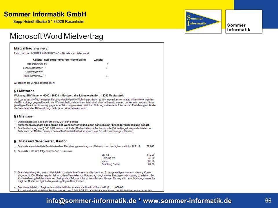 www.sommer-informatik.de 66 Microsoft Word Mietvertrag