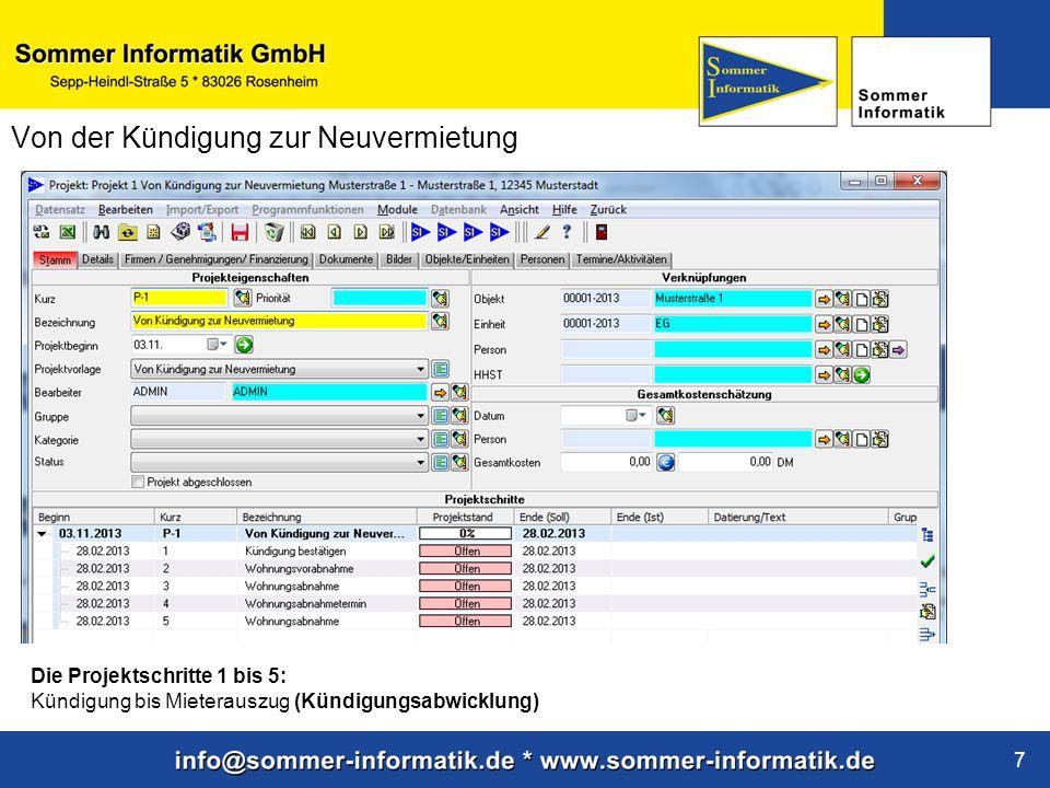 www.sommer-informatik.de 7 Von der Kündigung zur Neuvermietung Die Projektschritte 1 bis 5: Kündigung bis Mieterauszug (Kündigungsabwicklung)