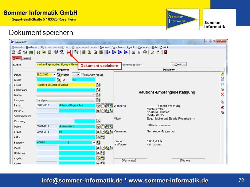 www.sommer-informatik.de 72 Dokument speichern