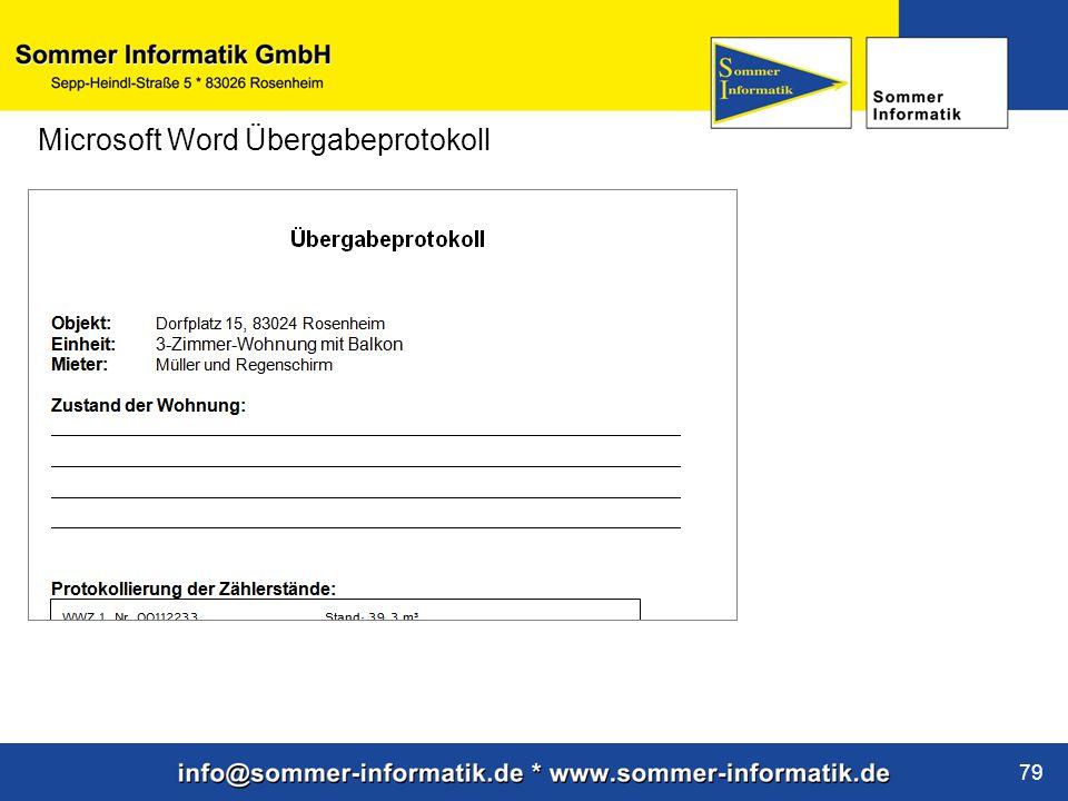 www.sommer-informatik.de 79 Microsoft Word Übergabeprotokoll