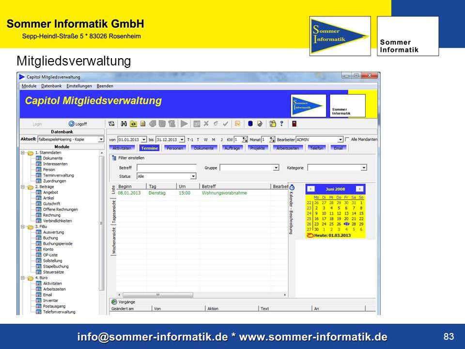 www.sommer-informatik.de 83 Mitgliedsverwaltung