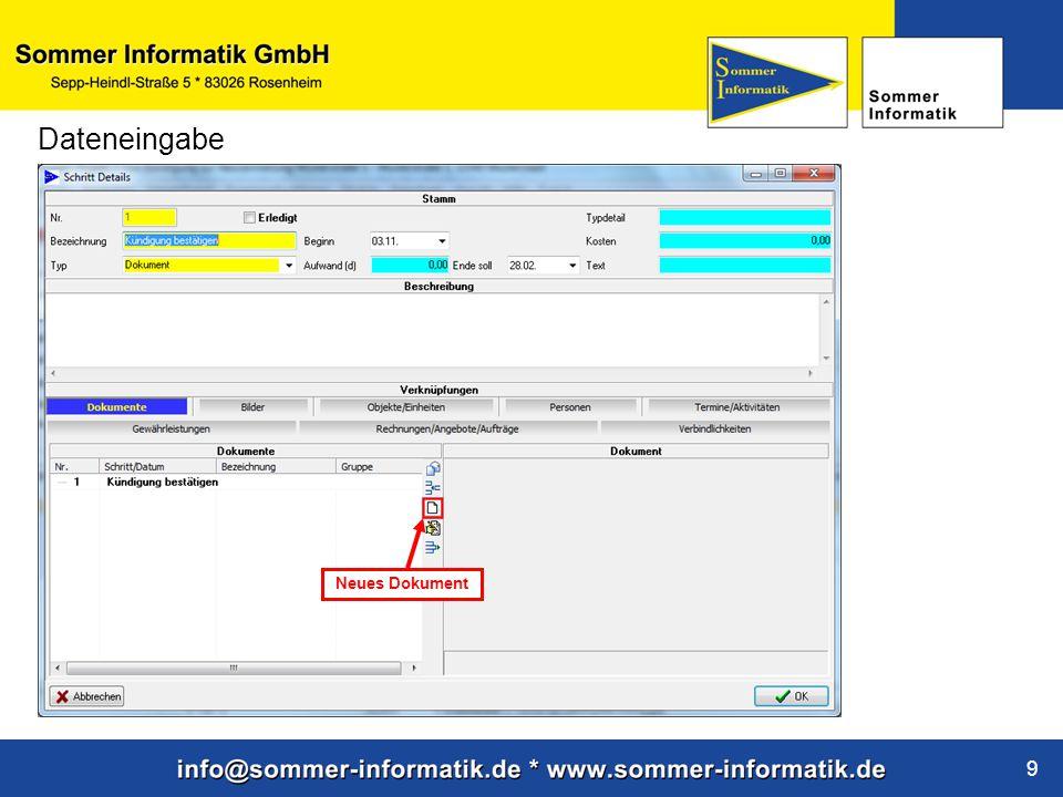 www.sommer-informatik.de 9 Dateneingabe Neues Dokument