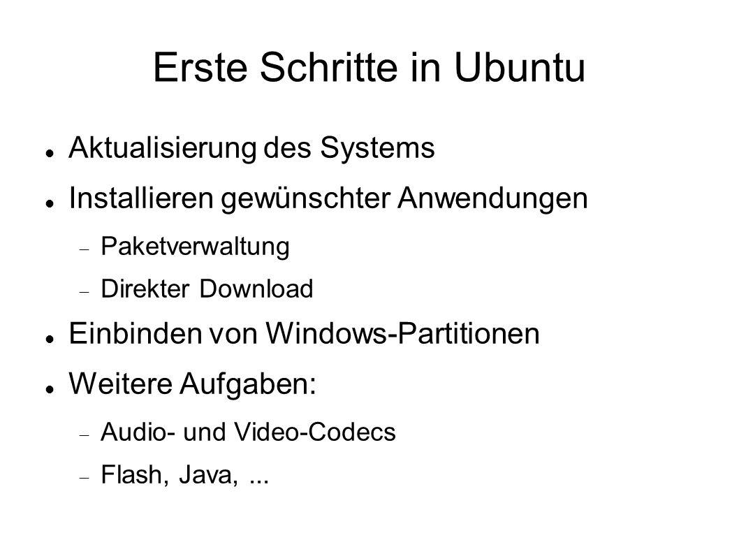 Erste Schritte in Ubuntu Aktualisierung des Systems Installieren gewünschter Anwendungen  Paketverwaltung  Direkter Download Einbinden von Windows-P