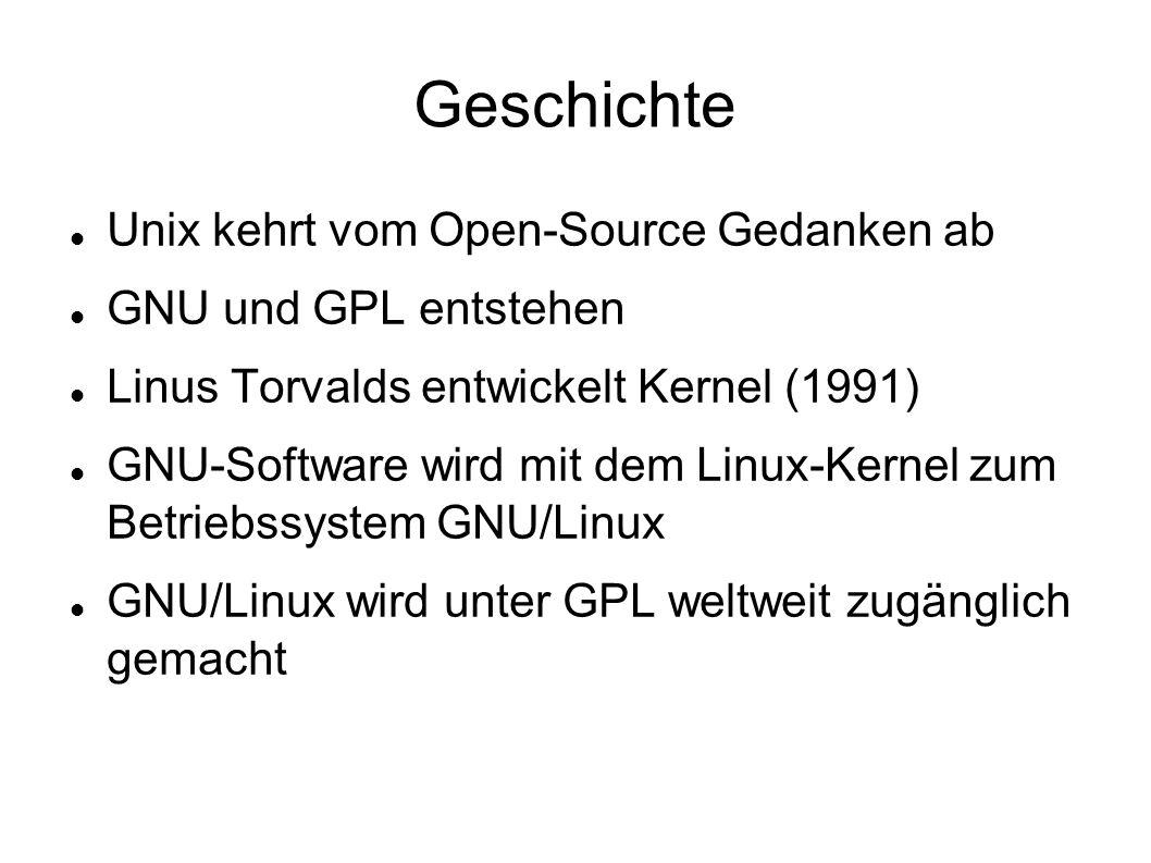 Geschichte Unix kehrt vom Open-Source Gedanken ab GNU und GPL entstehen Linus Torvalds entwickelt Kernel (1991) GNU-Software wird mit dem Linux-Kernel