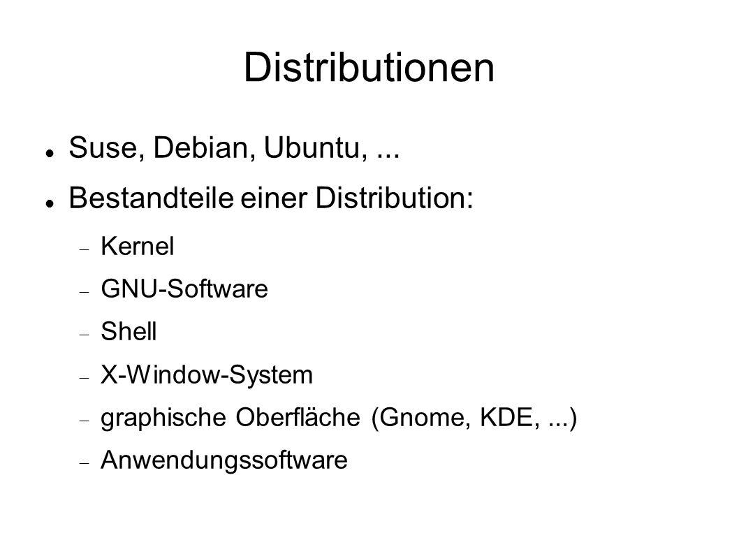Distributionen Suse, Debian, Ubuntu,... Bestandteile einer Distribution:  Kernel  GNU-Software  Shell  X-Window-System  graphische Oberfläche (Gn