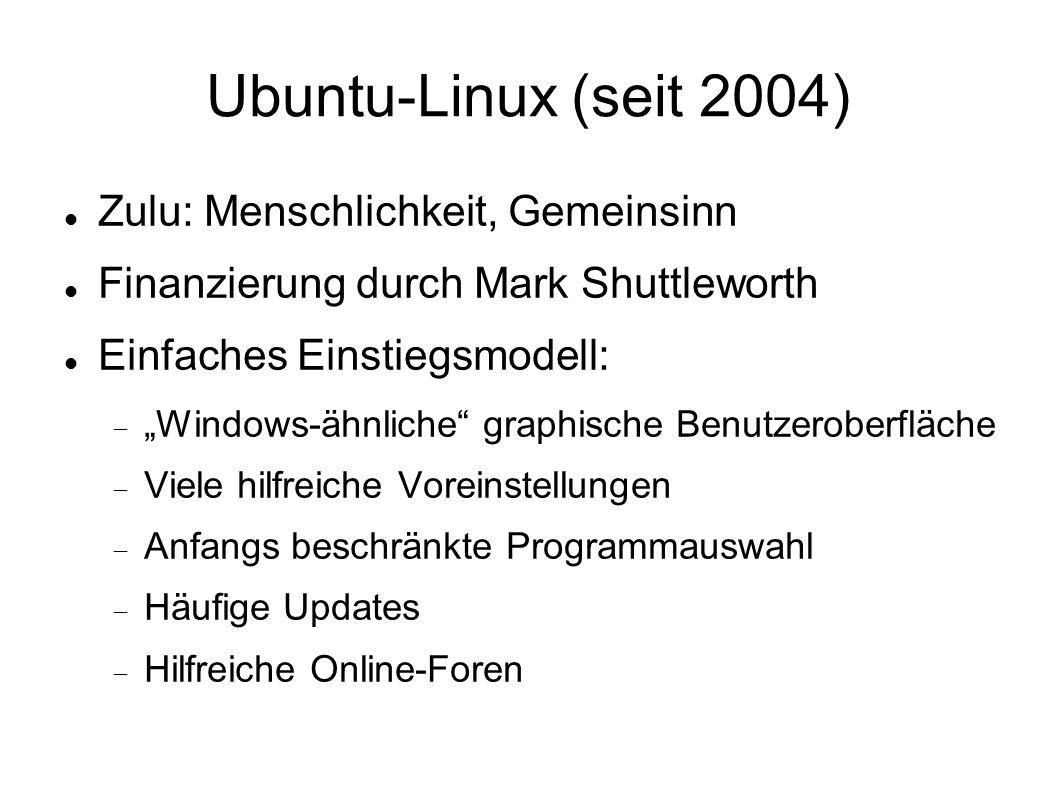 """Ubuntu-Linux (seit 2004) Zulu: Menschlichkeit, Gemeinsinn Finanzierung durch Mark Shuttleworth Einfaches Einstiegsmodell:  """"Windows-ähnliche"""" graphis"""