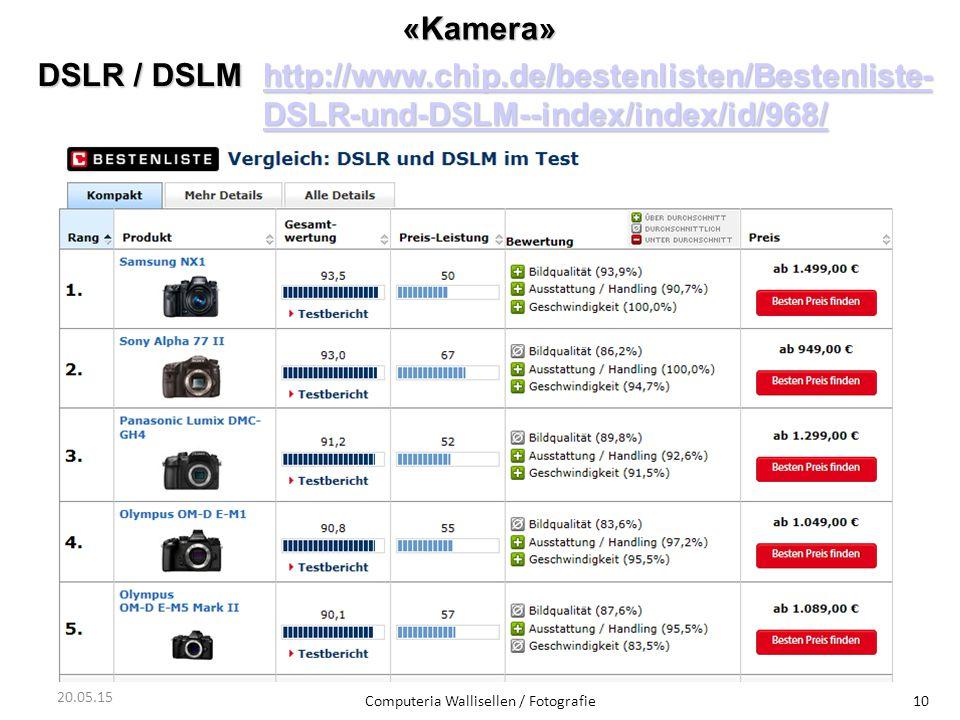 «Kamera» Computeria Wallisellen / Fotografie10 20.05.15 DSLR / DSLM http://www.chip.de/bestenlisten/Bestenliste- DSLR-und-DSLM--index/index/id/968/ ht