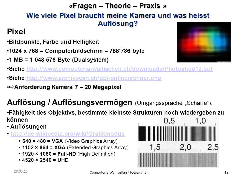 «Fragen – Theorie – Praxis » Wie viele Pixel braucht meine Kamera und was heisst Auflösung? Computeria Wallisellen / Fotografie12 20.05.15 Pixel Bildp