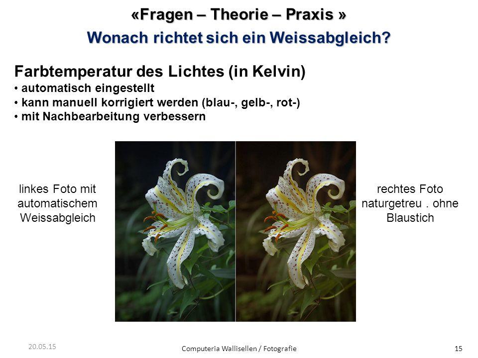 «Fragen – Theorie – Praxis » Wonach richtet sich ein Weissabgleich? Computeria Wallisellen / Fotografie15 20.05.15 Farbtemperatur des Lichtes (in Kelv