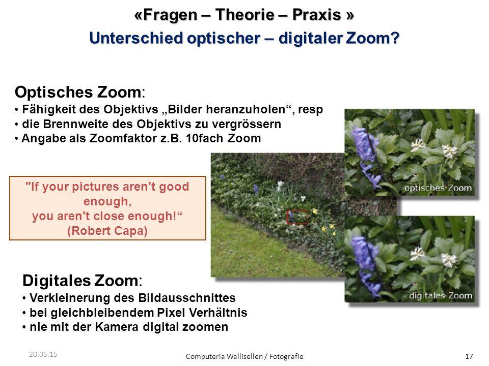 «Fragen – Theorie – Praxis » Unterschiedoptischer – digitaler Zoom? Unterschied optischer – digitaler Zoom? Computeria Wallisellen / Fotografie17 20.0