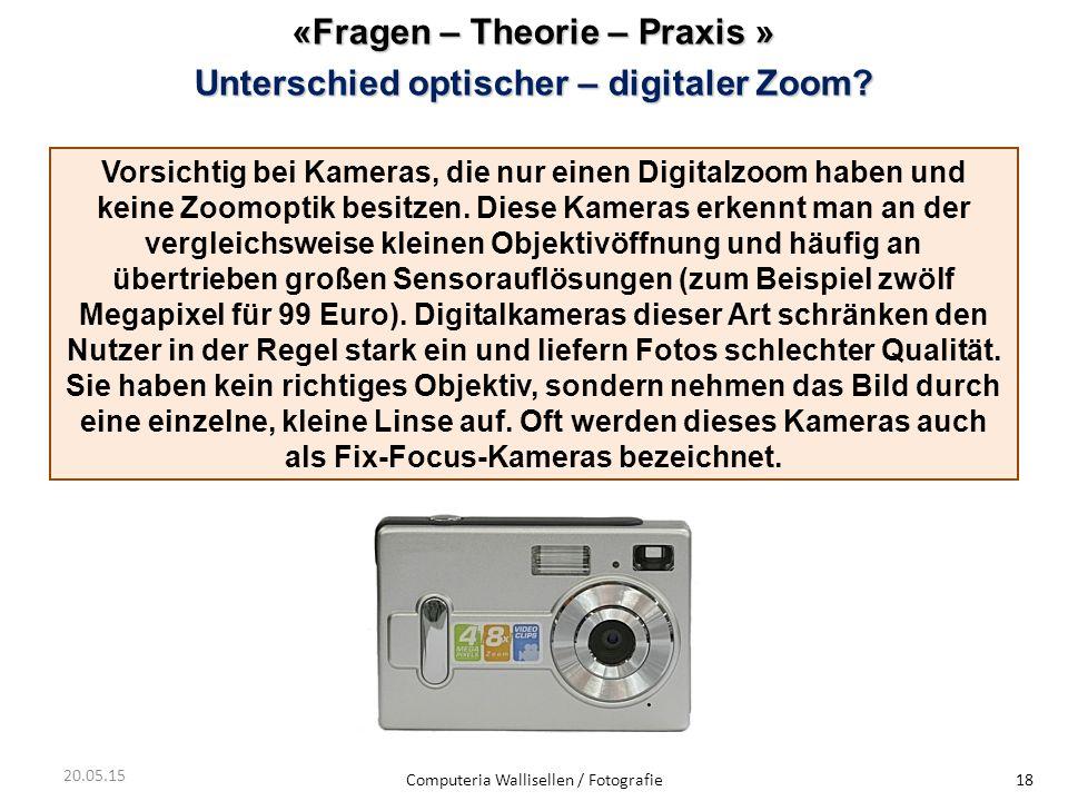 «Fragen – Theorie – Praxis » Unterschiedoptischer – digitaler Zoom? Unterschied optischer – digitaler Zoom? Computeria Wallisellen / Fotografie18 20.0