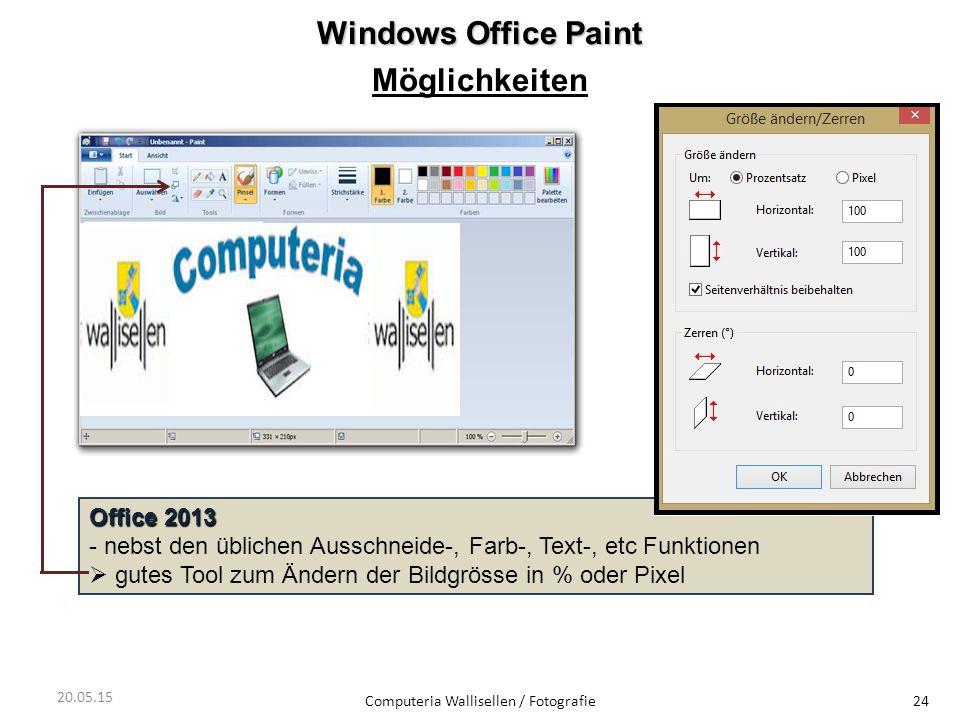 Windows Office Paint Möglichkeiten Computeria Wallisellen / Fotografie24 Office 2013 - nebst den üblichen Ausschneide-, Farb-, Text-, etc Funktionen 