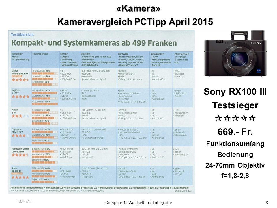 «Kamera» Computeria Wallisellen / Fotografie8 20.05.15 Kameravergleich PCTipp April 2015 Sony RX100 III Testsieger  669.- Fr. Funktionsumfang Bed