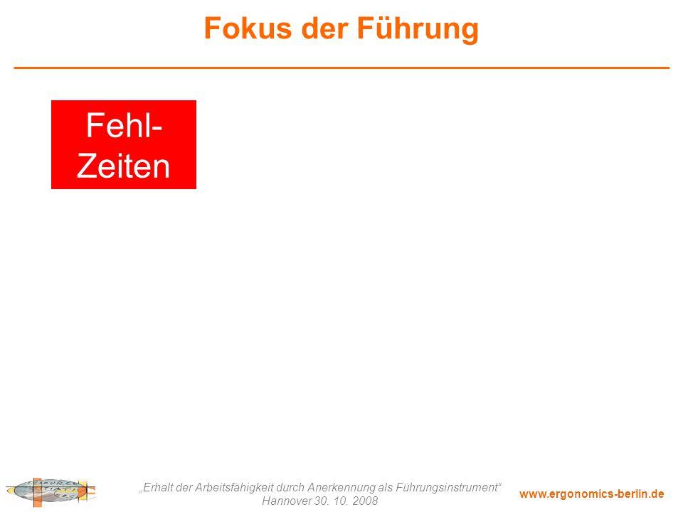 """www.ergonomics-berlin.de """"Erhalt der Arbeitsfähigkeit durch Anerkennung als Führungsinstrument"""" Hannover 30. 10. 2008 Fokus der Führung Fehl- Zeiten"""