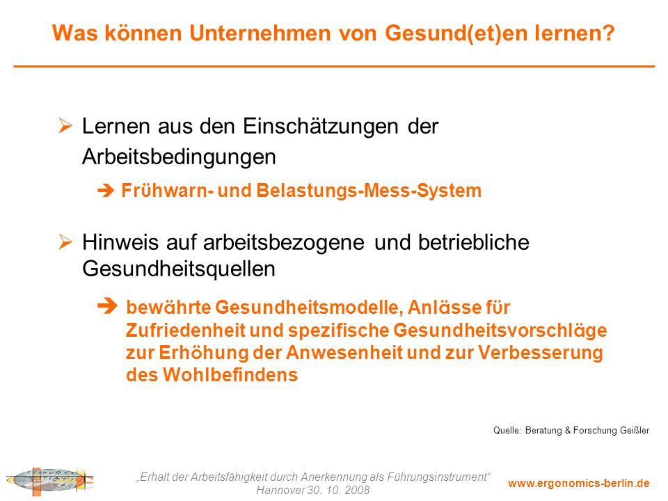 """www.ergonomics-berlin.de """"Erhalt der Arbeitsfähigkeit durch Anerkennung als Führungsinstrument"""" Hannover 30. 10. 2008 Was können Unternehmen von Gesun"""