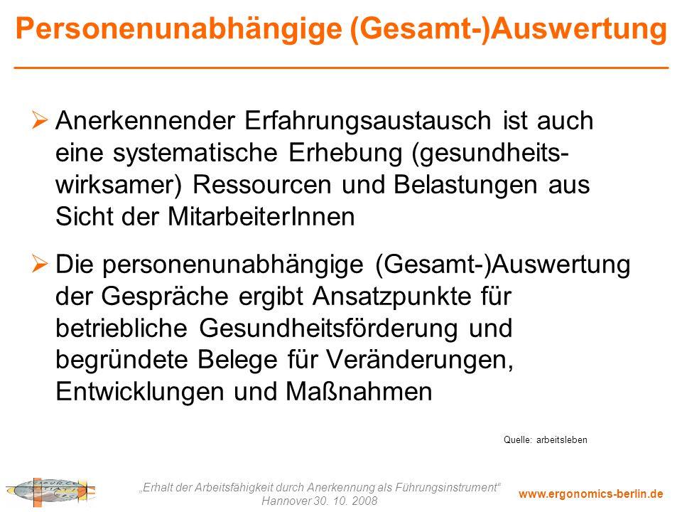 """www.ergonomics-berlin.de """"Erhalt der Arbeitsfähigkeit durch Anerkennung als Führungsinstrument"""" Hannover 30. 10. 2008 Personenunabhängige (Gesamt-)Aus"""