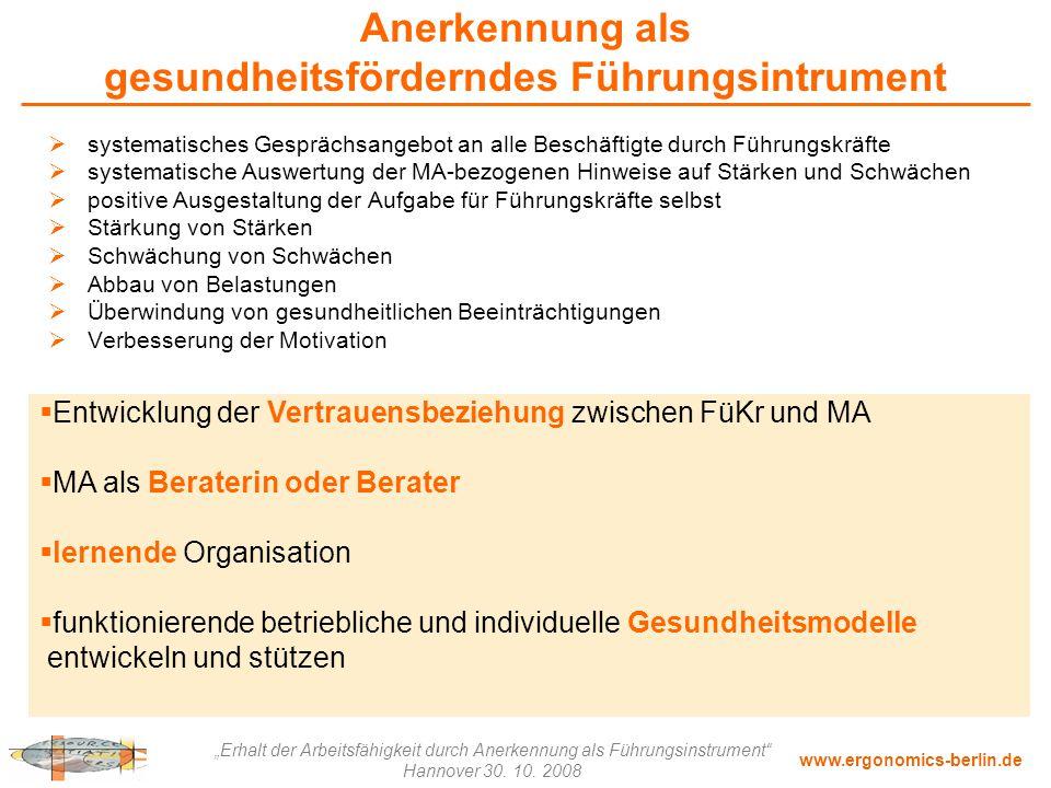 """www.ergonomics-berlin.de """"Erhalt der Arbeitsfähigkeit durch Anerkennung als Führungsinstrument"""" Hannover 30. 10. 2008 Anerkennung als gesundheitsförde"""