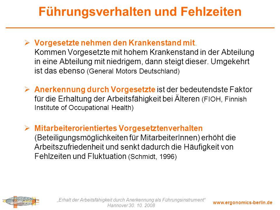 """www.ergonomics-berlin.de """"Erhalt der Arbeitsfähigkeit durch Anerkennung als Führungsinstrument"""" Hannover 30. 10. 2008 Führungsverhalten und Fehlzeiten"""