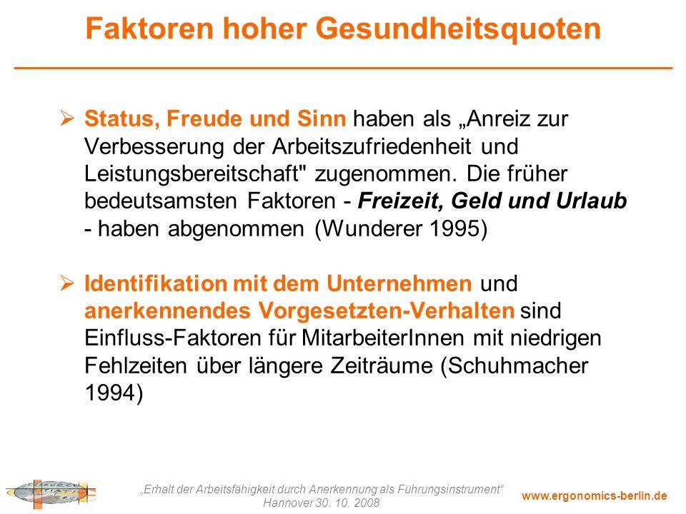 """www.ergonomics-berlin.de """"Erhalt der Arbeitsfähigkeit durch Anerkennung als Führungsinstrument"""" Hannover 30. 10. 2008 Faktoren hoher Gesundheitsquoten"""