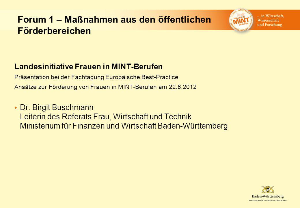 Landesinitiative Frauen in MINT-Berufen Präsentation bei der Fachtagung Europäische Best-Practice Ansätze zur Förderung von Frauen in MINT-Berufen am 22.6.2012 Dr.