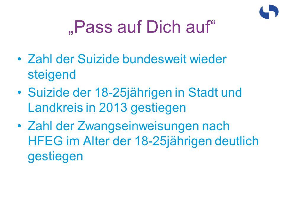 """""""Pass auf Dich auf"""" Zahl der Suizide bundesweit wieder steigend Suizide der 18-25jährigen in Stadt und Landkreis in 2013 gestiegen Zahl der Zwangseinw"""