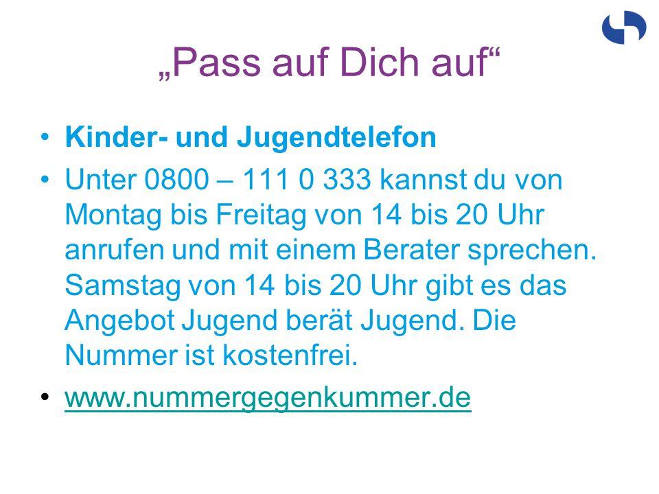 Kinder- und Jugendtelefon Unter 0800 – 111 0 333 kannst du von Montag bis Freitag von 14 bis 20 Uhr anrufen und mit einem Berater sprechen. Samstag vo