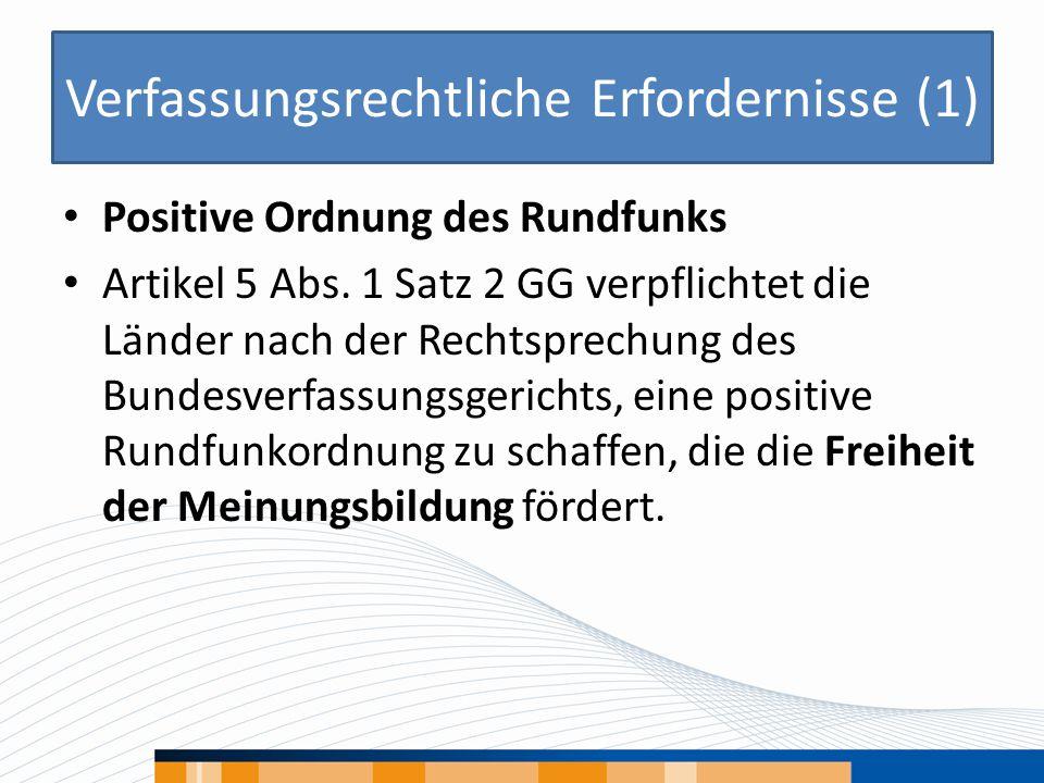Verfassungsrechtliche Erfordernisse (1) Positive Ordnung des Rundfunks Artikel 5 Abs.