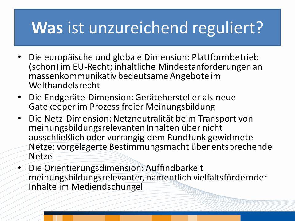 Was ist unzureichend reguliert? Die europäische und globale Dimension: Plattformbetrieb (schon) im EU-Recht; inhaltliche Mindestanforderungen an masse