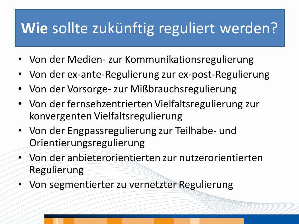 Wie sollte zukünftig reguliert werden? Von der Medien- zur Kommunikationsregulierung Von der ex-ante-Regulierung zur ex-post-Regulierung Von der Vorso