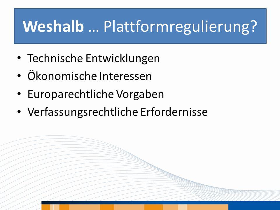 Weshalb … Plattformregulierung? Technische Entwicklungen Ökonomische Interessen Europarechtliche Vorgaben Verfassungsrechtliche Erfordernisse